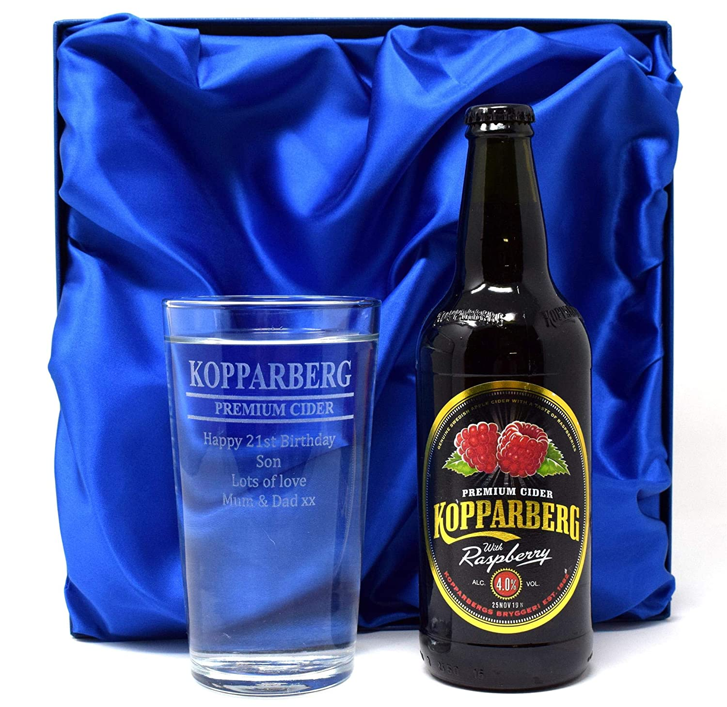 Engraved/Personalised KOPPARBERG Design Pint Glass & Bottle of Raspberry Cider in Silk Gift Box For Boys/Girls/Men/Women/18th/21st/30th/40th/50th/60th/65th/70th/Birthday/Christmas/Fathers Day/Step Dad/Daddy/Mum/Mummy/Sister/Auntie/Grandad/Son/Uncle/Hu