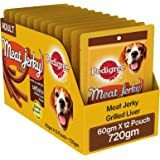 Pedigree Meat Jerky Stix Adult Valentines Gift Dog Treat, Grilled Liver, 12 Packs (12x60g)