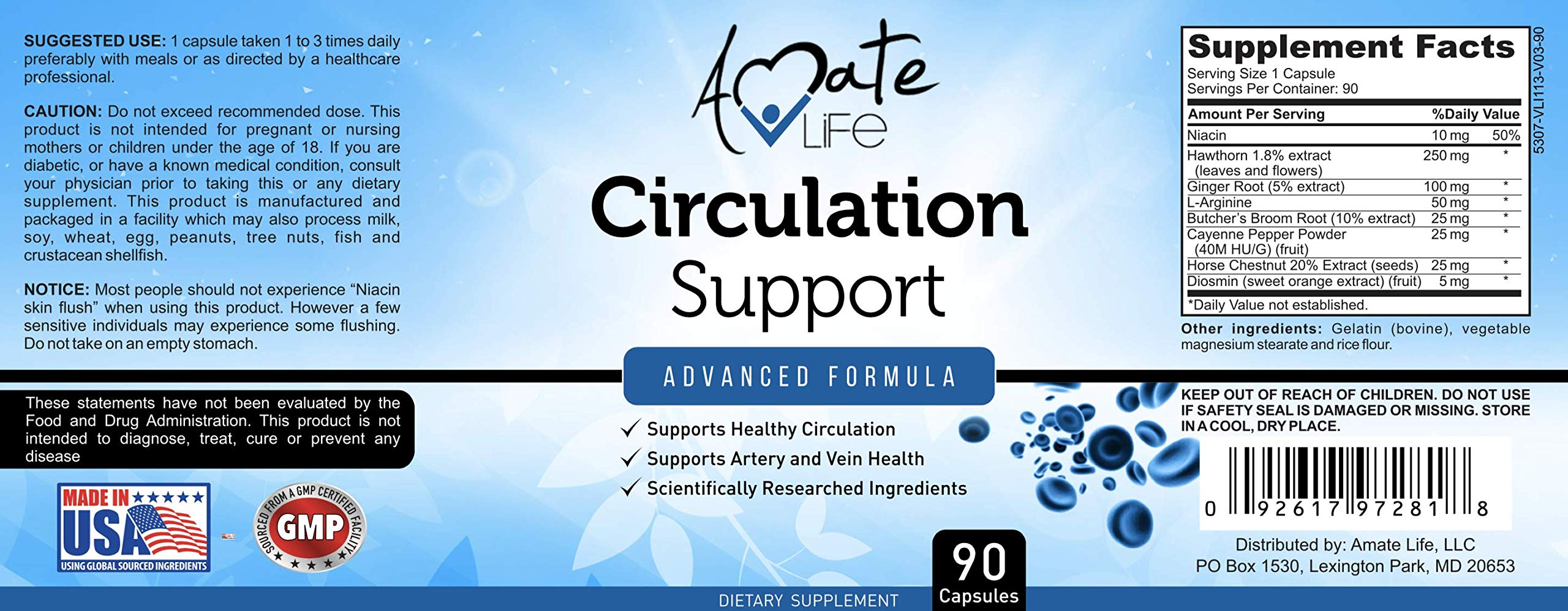 Amate Life Circulation Support Supplement for Arteries & Veins Health - Natural Cardiovascular Pills with L-Arginine, Ginger Root, Hawthorn & Diosmin - Promotes Healthy Blood Flow & Heart - 90 Caps