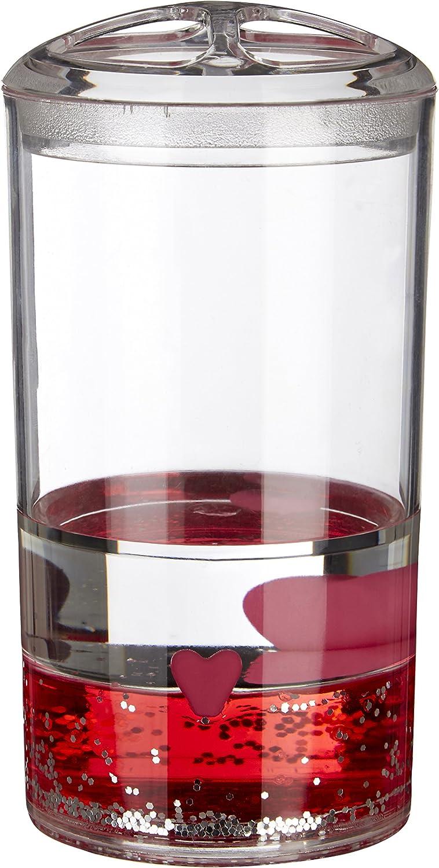 Trasparente//Rosso /portaspazzolino con Galleggiante Cuori 7/x 7/x 13/cm in Acrilico Premier Housewares/
