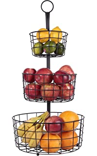 JMiles UH FB205 2 Or 3 Tier Decorative Heavy Duty Wire Fruit Basket  Countertop Stand