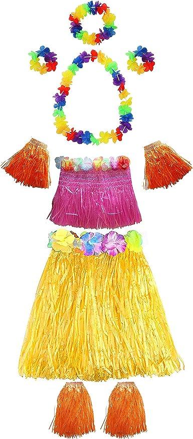 ORANGE HAWAIIAN GRASS SKIRT FANCY DRESS 5 PC HULA SET LEI WRISTBANDS HEADBAND