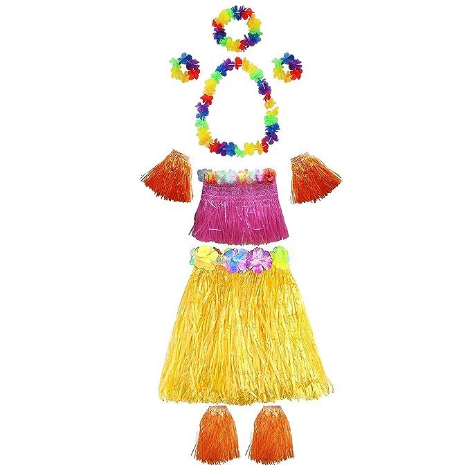 Set Faldas Hawaianas (10 Piezas) - Hawaii Fiesta Traje - Hula Falda, Flores Leis Collar, Brazaletes, Hawaii Top, Piernas Bandas, Mano Bandas para ...