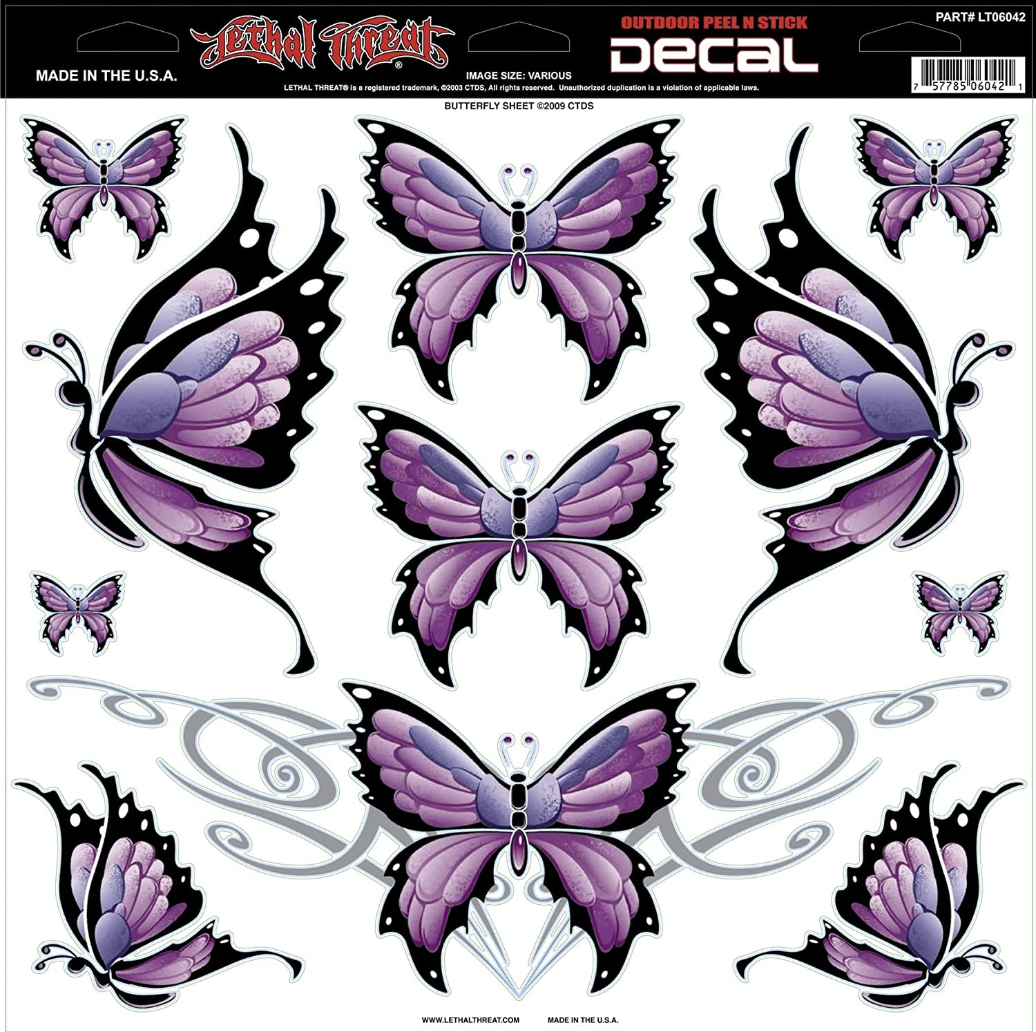 Lethal Threat Decals Large Butterfly Sheet 12x12
