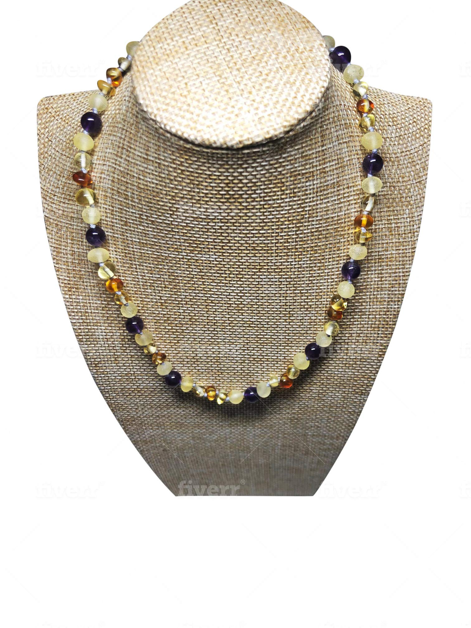 Baltic Amber Necklace For Kids- 16 inch- Immune System Boost- with Certified Amethyst by Umai