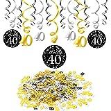 40 anni compleanno decorazione, Konsait nero appeso soffitto spirale decorazione (15 conteggi), buon compleanno & 40 tavolo coriandoli (1,05 oz) per festa di 40 ° compleanno decorazioni