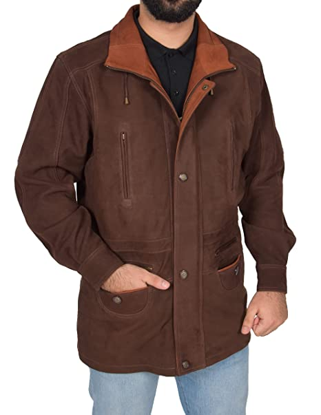 Mens Leather Parka Car Coat Classic Overcoat Mid Length Jacket Jason Brown Nubuck at Amazon Mens Clothing store: