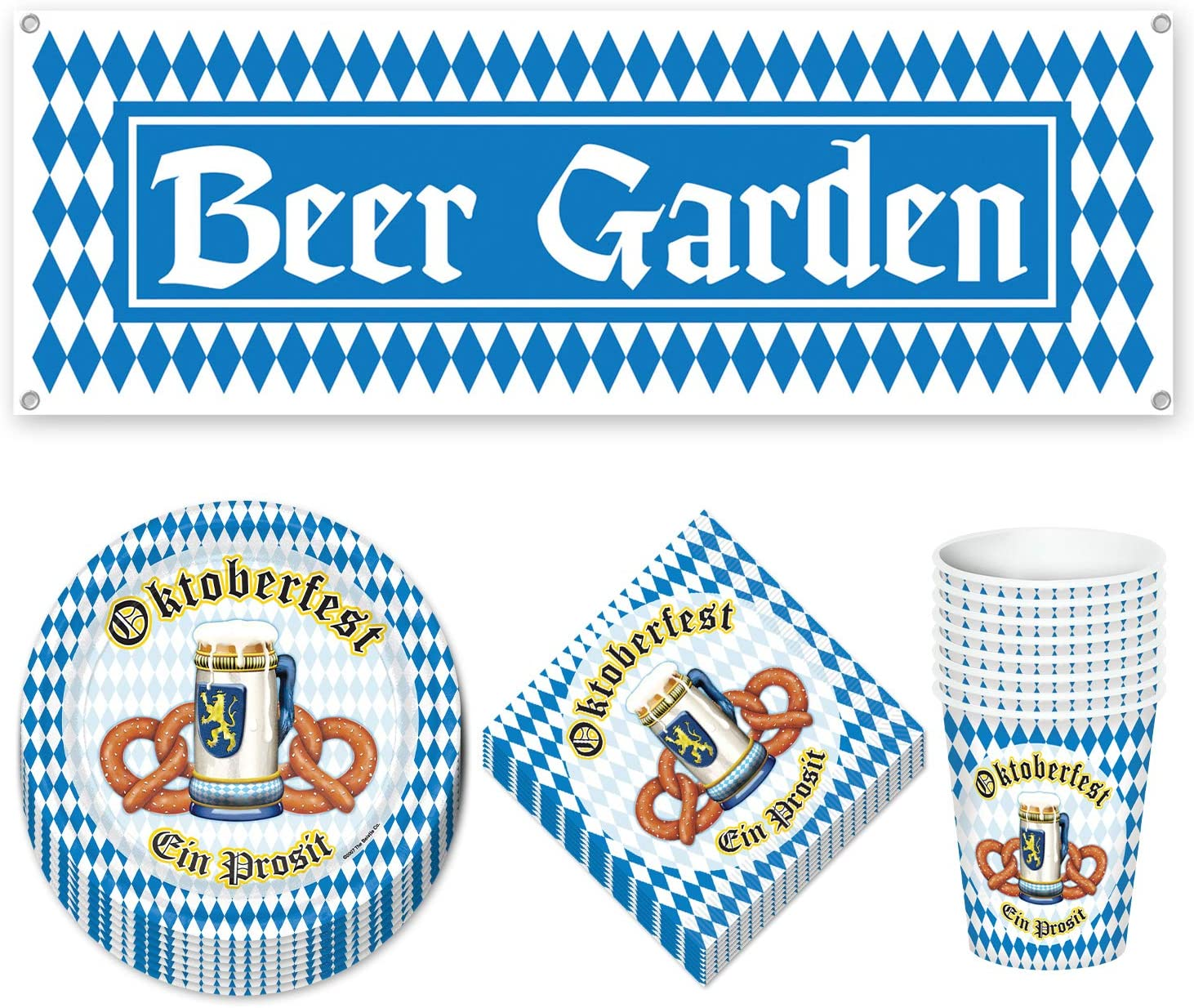 Oktoberfest Party Pack - Pretzel Plates, Napkins, Beverage Cups with Beer Garden Sign Banner (Serves 8)