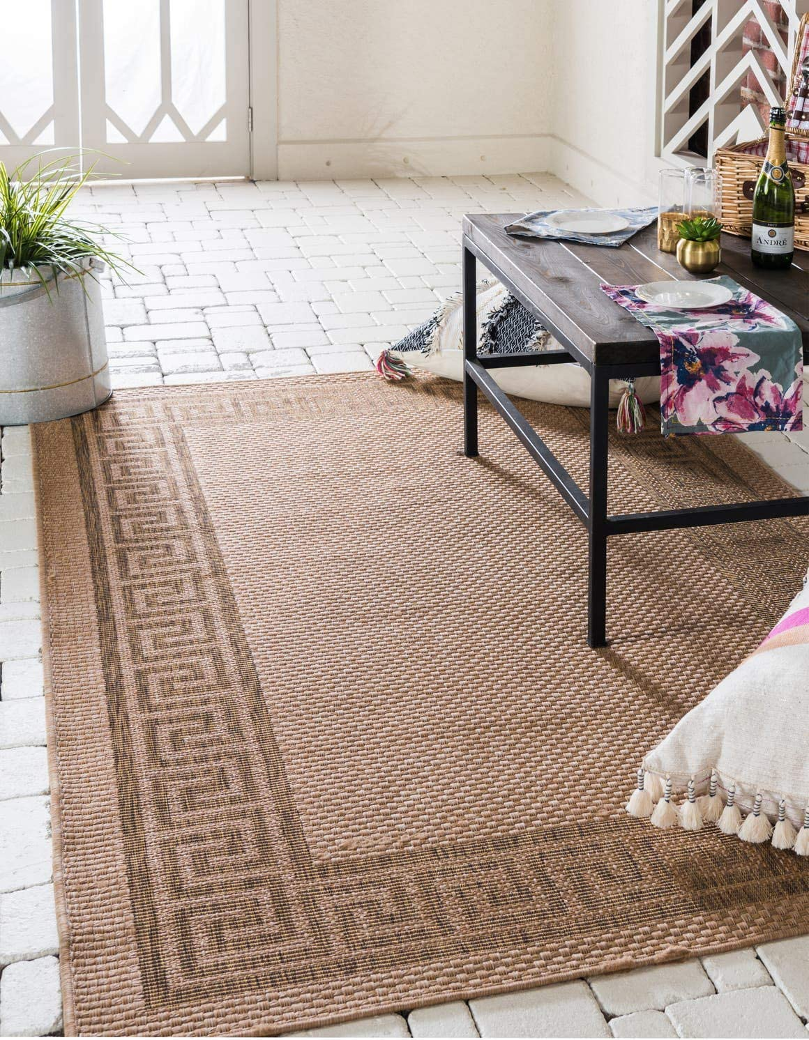 Unique Loom Outdoor Border Collection Casual Greek Key Transitional Indoor and Outdoor Flatweave Light Brown Area Rug 6 0 x 9 0