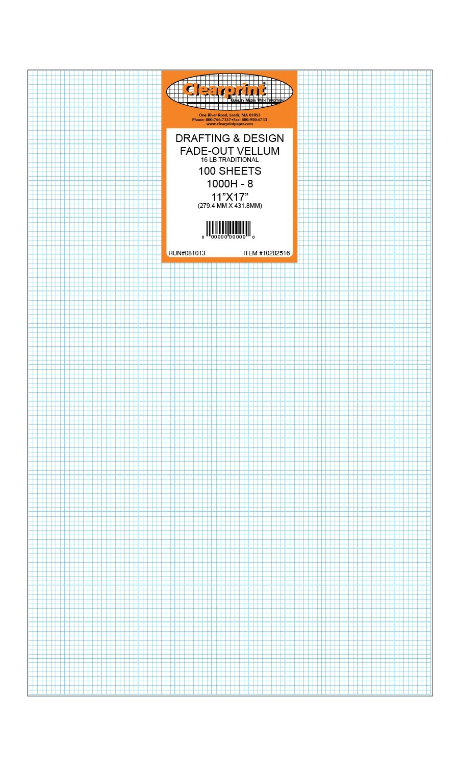 Clearprint 1000H Design Vellum Sheets with Printed Fade-Out 8x8 Grid, 16 Lb, 100% Cotton, 11 x 17 Inches, 100 Sheets Per Pack, 1 Each (10202516)
