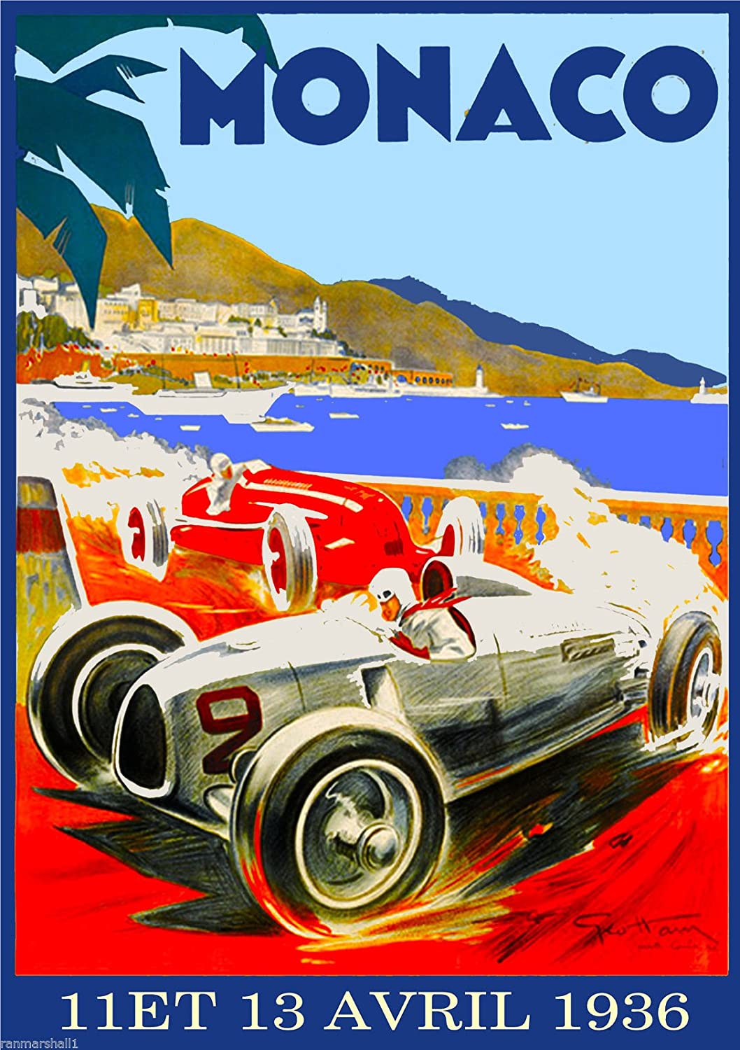 Vintage Monaco 1968 Grand Prix Car Racing Poster