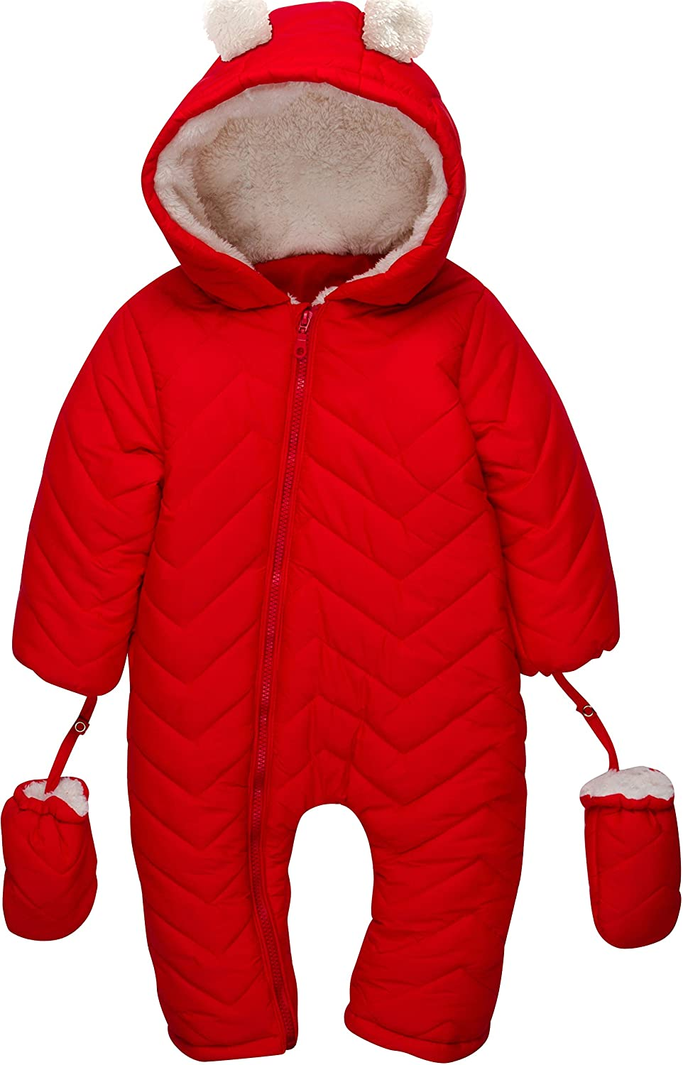 3 Happy Owls Winter California Weatherproof Hooded Baby Snow Suit Winter Bunting Pram Cherry Red)