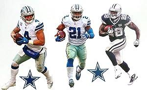 Cowboys Mini FATHEAD Graphics Team Set Official Vinyl Wall Graphics (3 Players + Cowboys Logo), Each Player 7