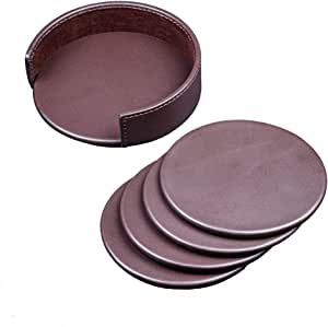 Dacasso Chocolate Brown Leather Coaster Set