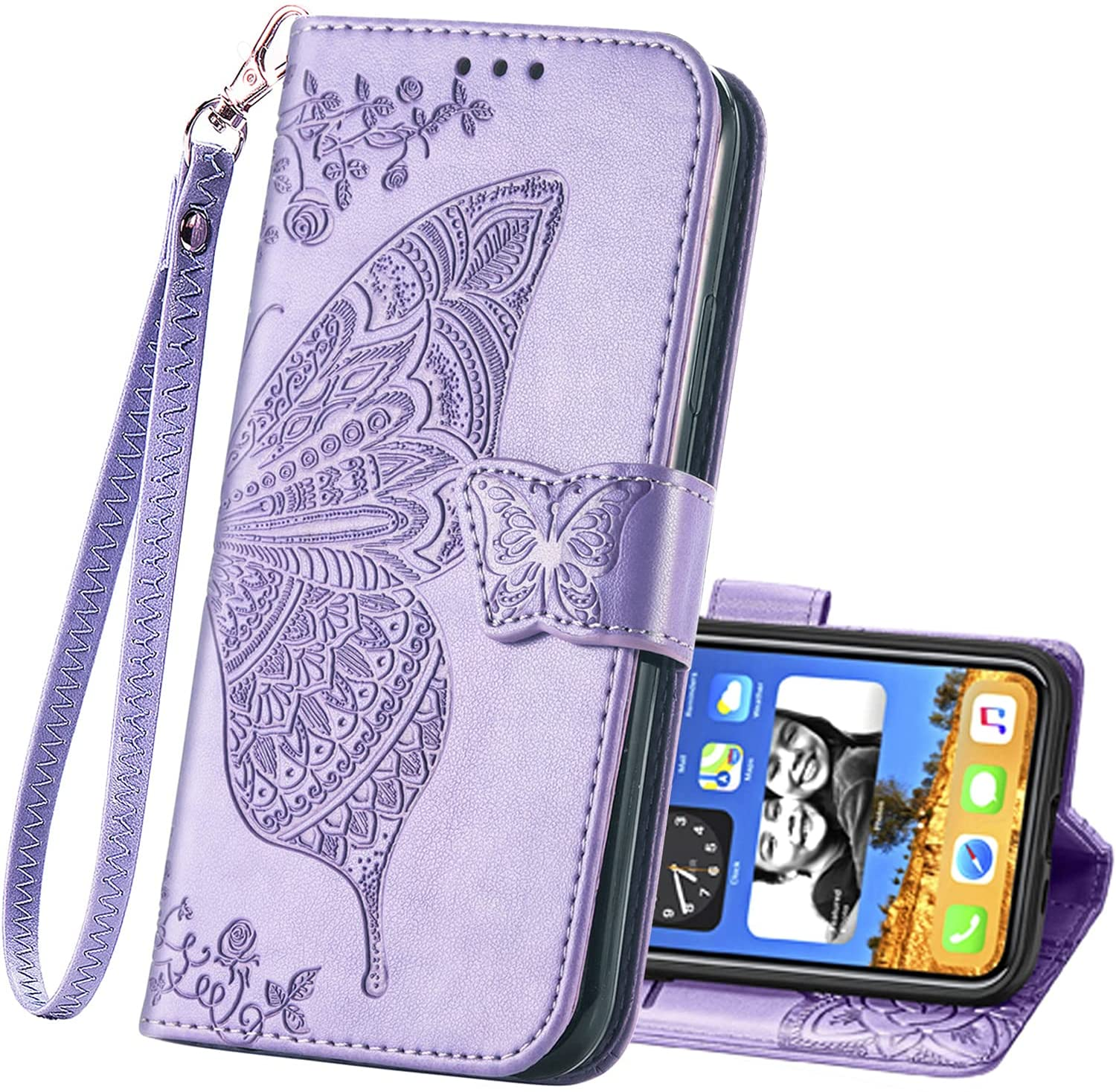 Wallet Case for iPhone 6,iPhone 6s PU Leather Flip Protective Phone Case with Wrist Strap Card Slots Holder Pocket Emboss Butterfly Flower Stand Case for iPhone 6 / 6s Light Purple