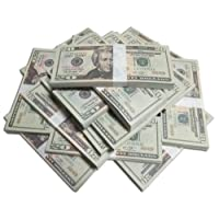 Motion Picture Money Real Looking US Play Money, Double Sided, $20's, 100 Bills, for Education, Play, Fun, Props