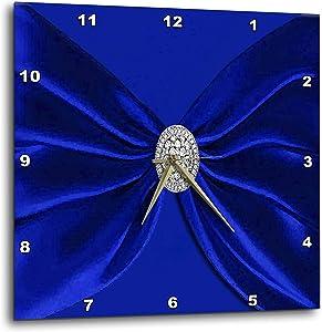 3dRose Royal Blue Velvet Sash with Round Diamond Jewel Look Wall Clock, 15x15