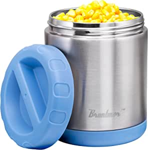 Vacuum Insulated Food Jar 24-Ounce - 100% Stainless Steel Interior - Leak Proof Soup Jar & Food Storage Container, Blue