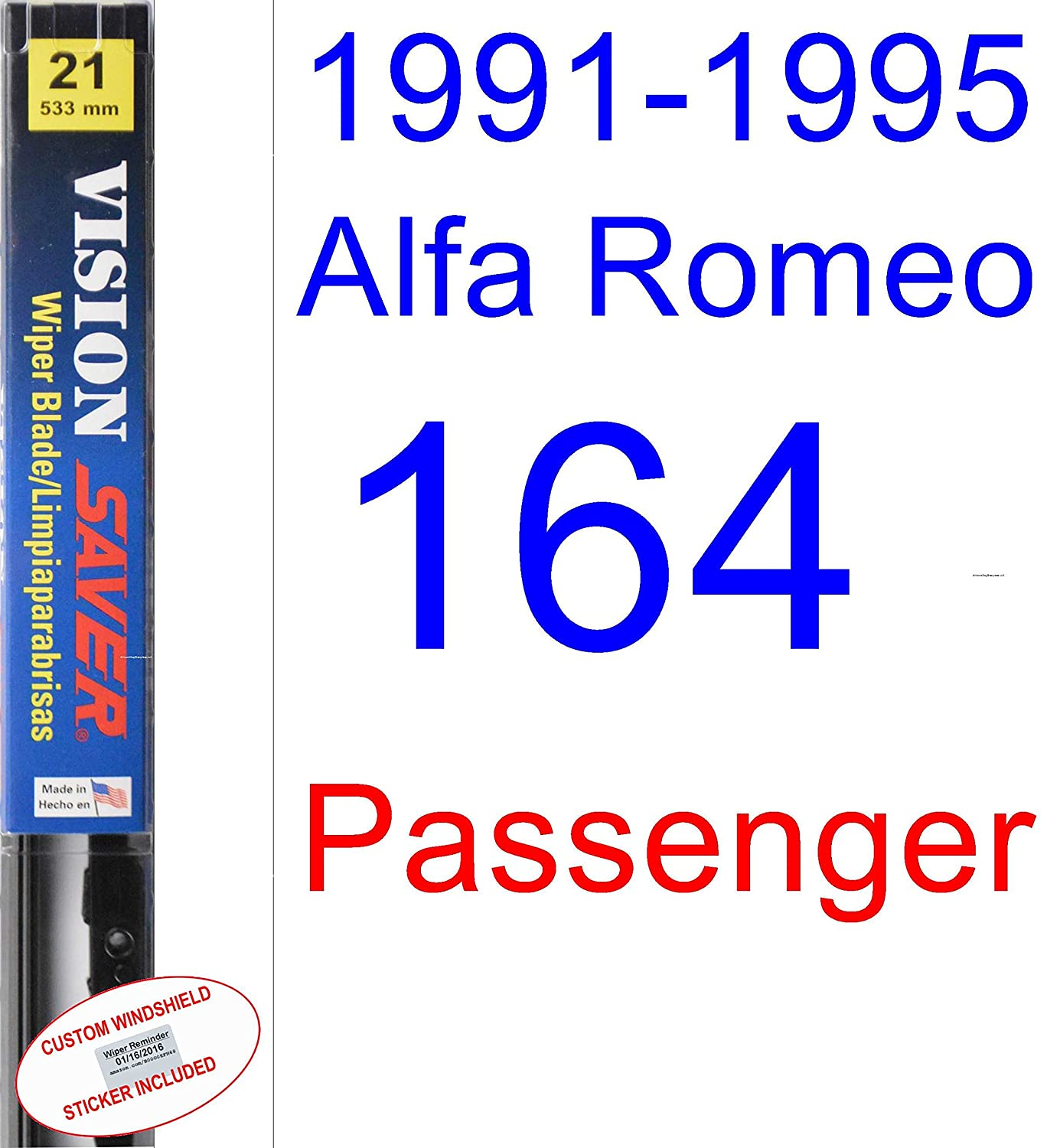 Amazon.com: 1991-1995 Alfa Romeo 164 Wiper Blade (Driver) (Saver Automotive Products-Vision Saver) (1992,1993,1994): Automotive