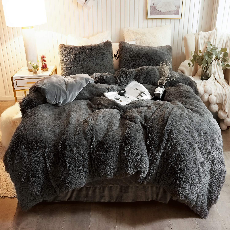 XeGe Plush Shaggy Duvet Cover Set Luxury Ultra Soft Crystal Velvet Bedding Sets 3 Pieces(1 Faux Fur Duvet Cover + 2 Faux Fur Pillowcases),Zipper Closure (King,Dark Gray )