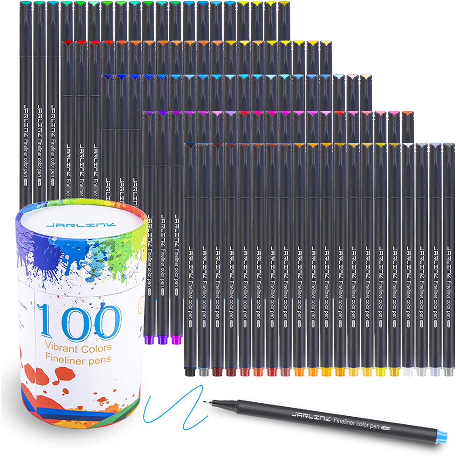 JARLINK 100 Colors Journal Planner Pens, Fine Point Fineliner Markers for Journaling Writing Office Supplies