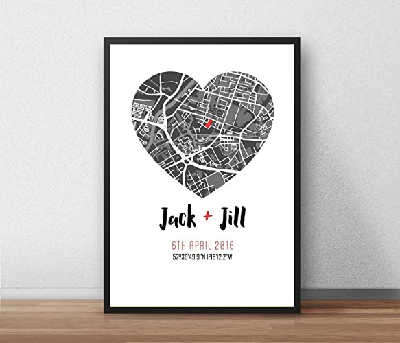 a4 engagement wedding where we met print couple personalised