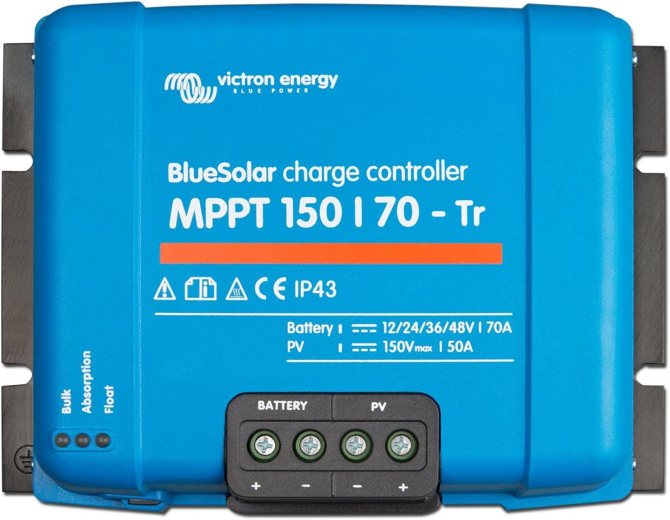 Victron BlueSolar MPPT 150/70 70A - Controlador de carga solar para paneles solares (hasta 1000 W (12 V), 2000 W (24 V), 3000 W (36 V), 4000 W (48 V) y hasta 150 V)