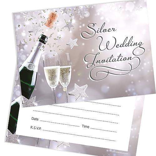 silver wedding invitations amazon co uk