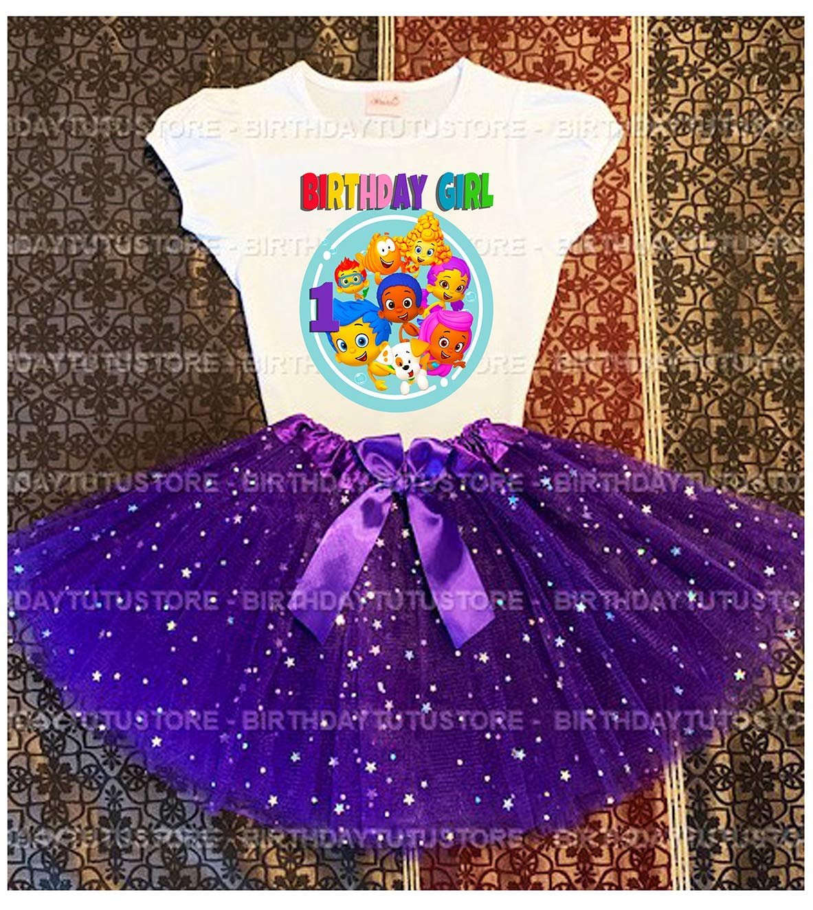 -With NAME- party Tutu outfit Bubble Guppies 4th Birthday dress