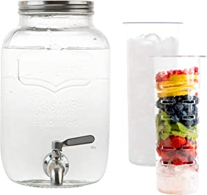 2 Gallon Glass Beverage Dispenser with Ice and Fruit Infusers, Stainless Steel Spigot and Metal Lid, Wide Mouth Mason Jar Drink Dispenser, for Iced Tea, Kombucha Brewing and more