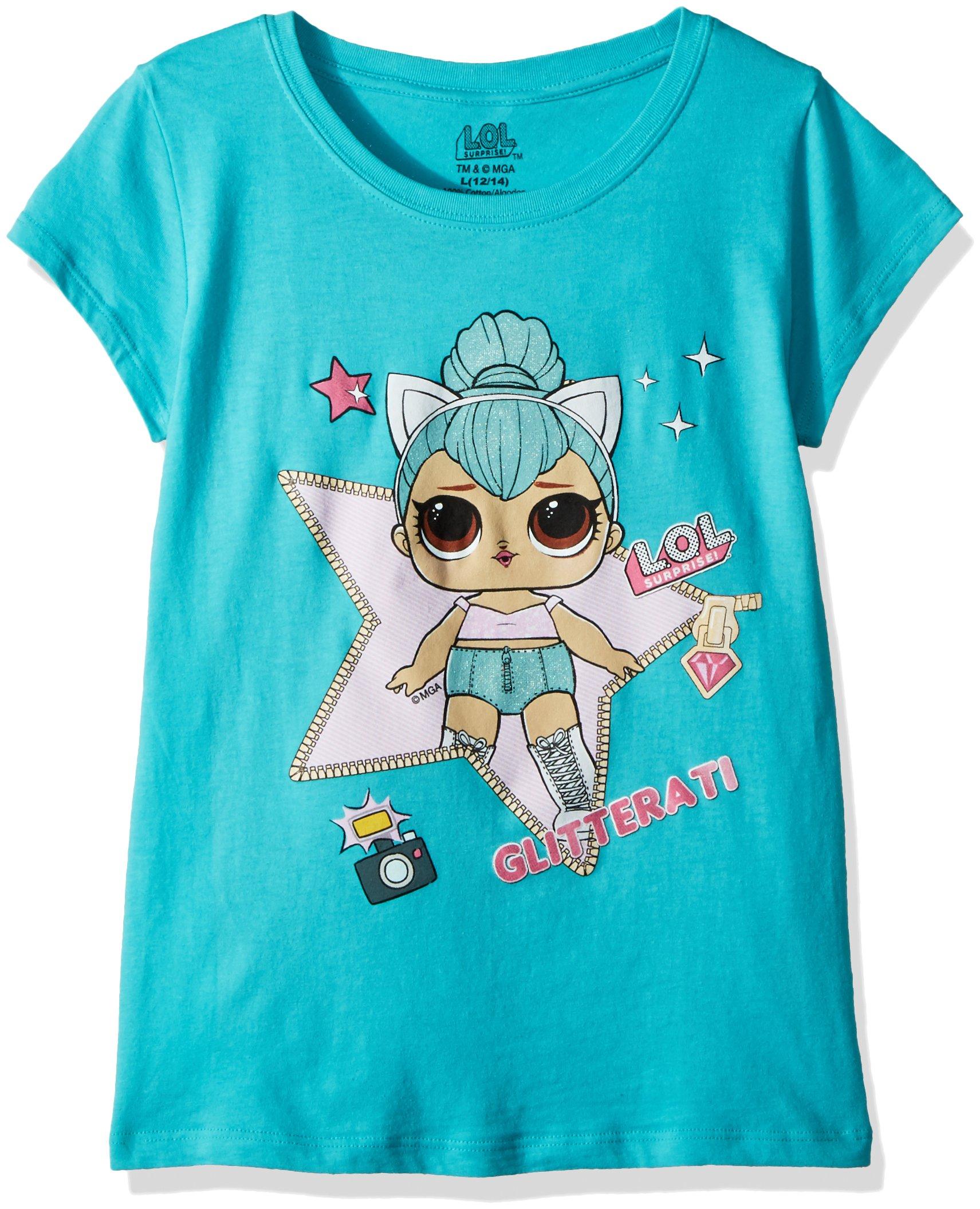 L.O.L. Surprise! Little Girls' The Glitterati Kitty Queen Short Sleeve T-Shirt, Tahiti Blue, M-5/6