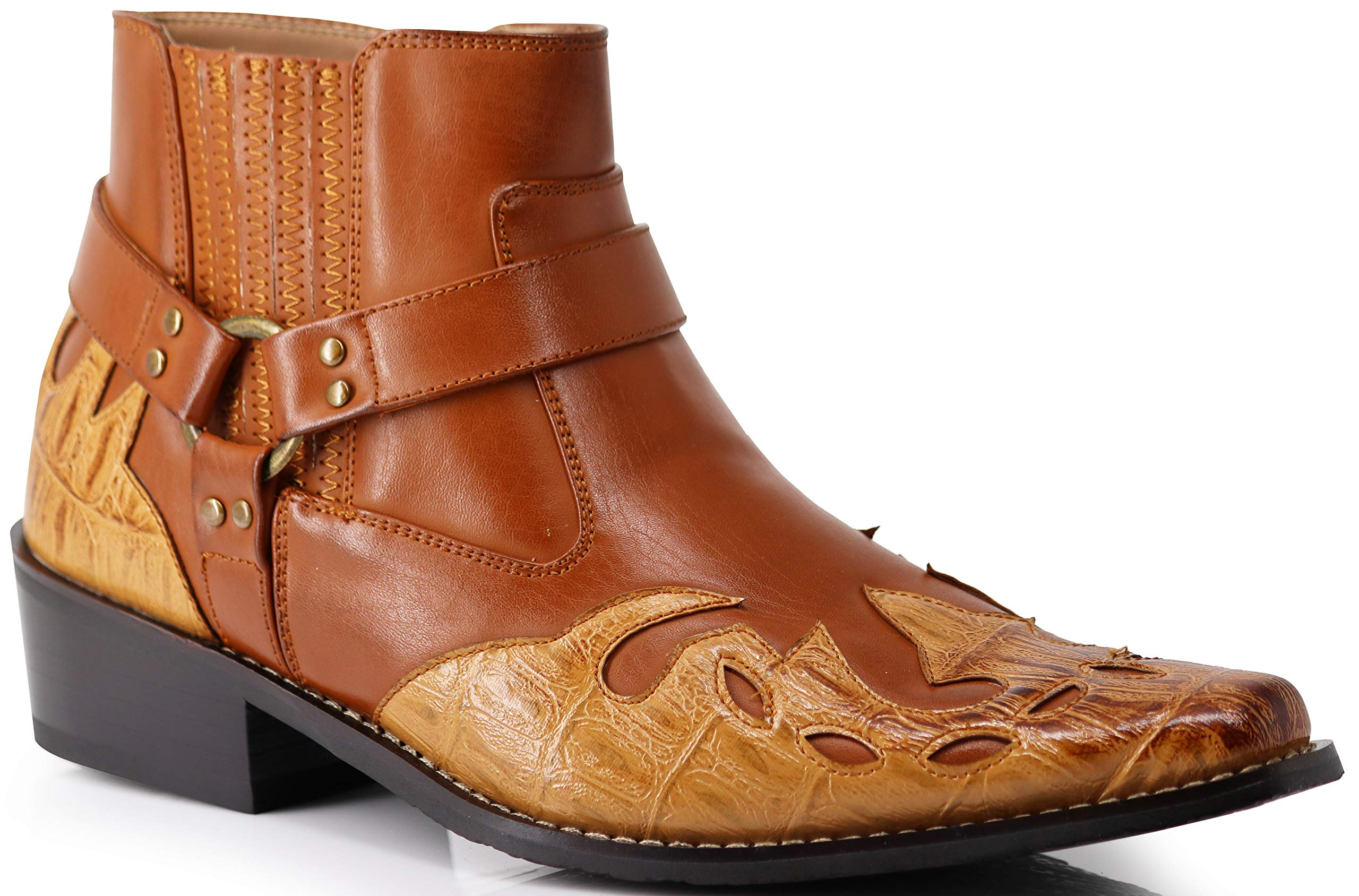 Enzo Romeo WT11 Men's Western Cowboy Motorcycle Ankle Boots (11 D(M) US, Brown)