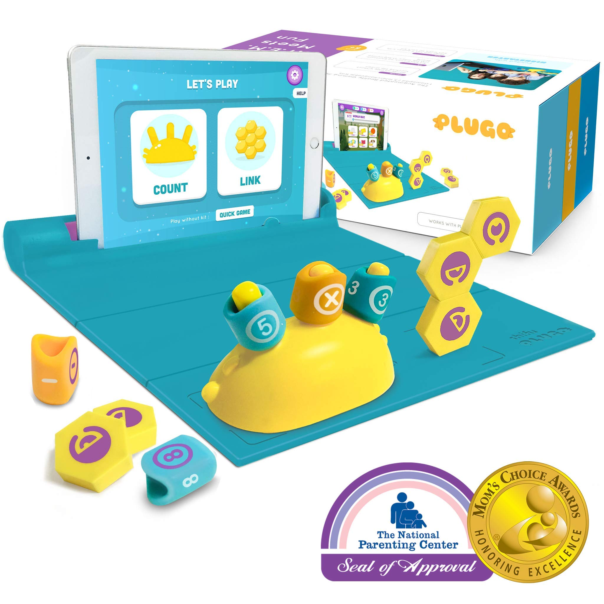 Shifu Plugo - Count & Link Combo Kit - Cool Math Games & Magnetic Building Blocks Puzzles for Kids, Educational STEM Toy for Boys & Girls Age 4 to 10 Years (iPad / iPhone Required)