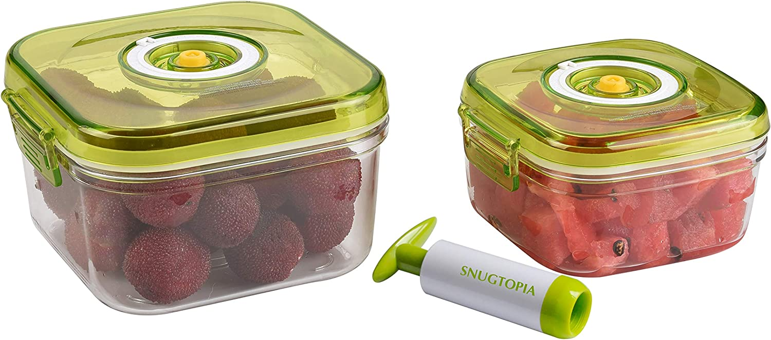 SNUGTOPIA Food Storage Container with Vacuum Sealed Airtight Lid BPA Free, Glass-like Tritan Containers with Manual Pump, Microwave, Freezer, Dishwash