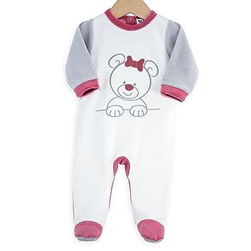 aec9bfe06bcee Kinousses Grenouillères Pyjama Bébé Fille Velours Mon Nounours 6 mois Blanc