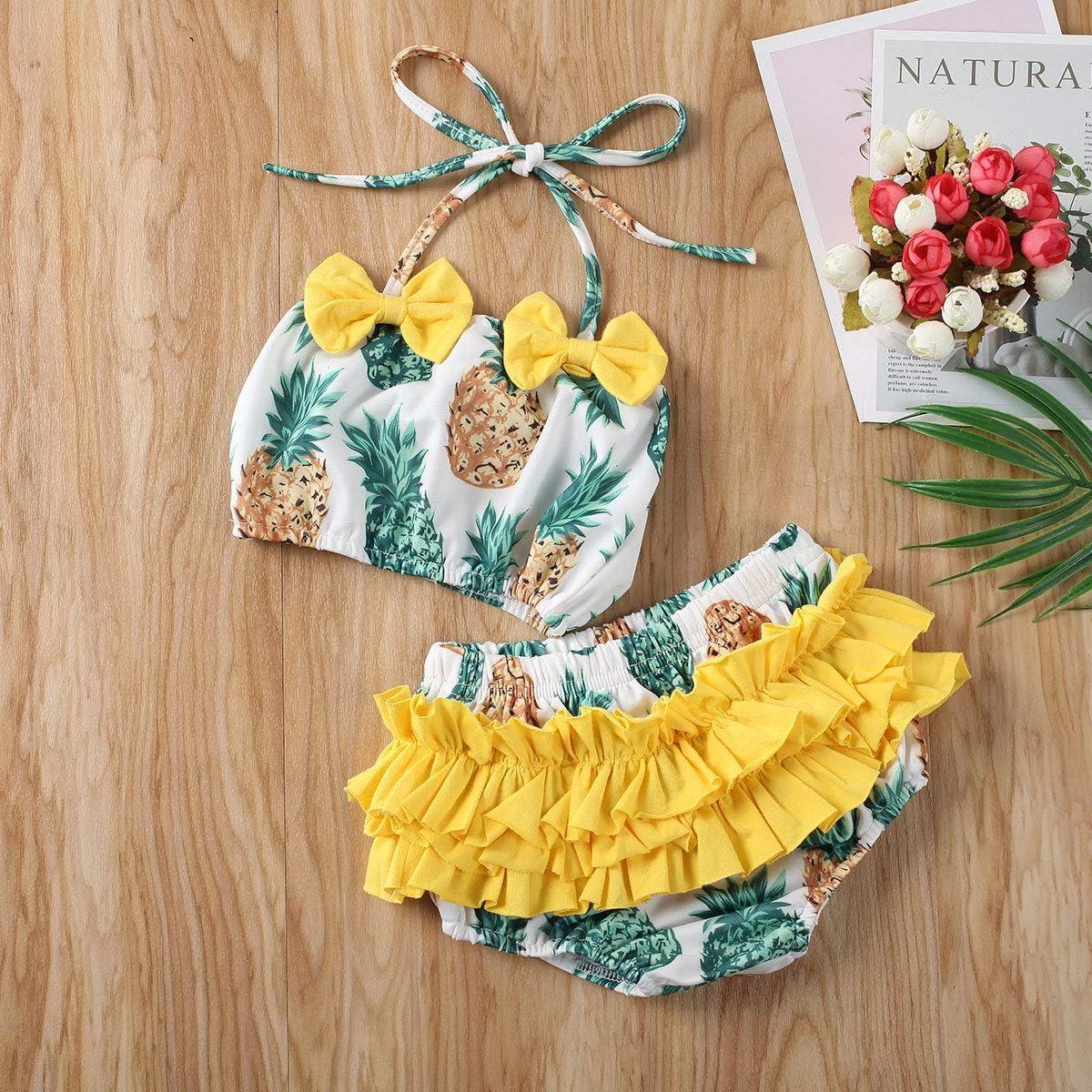 Toddler Baby Girl Swimsuit Two Pieces Tankini Sets Tassel Bathing Suit Bikini Swimwear Beachwear with Headband