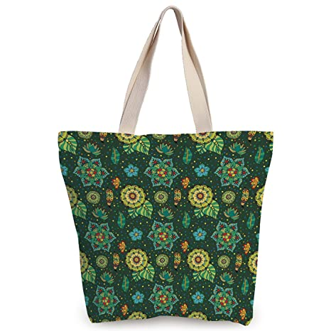 9d1f2e9bb8a1 iPrint Cool Canvas Tote Bag,Floral,Colorful Flower Decorations Fantasy Hand  Drawn Festive Dotted