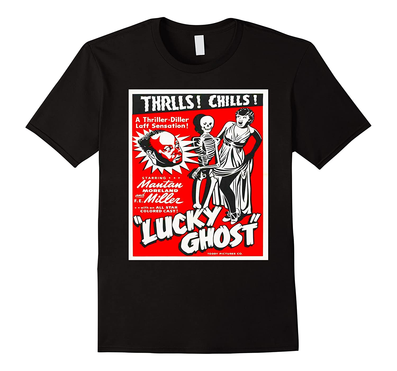 Lucky - Vintage Horror Scary Film Ghost Skeleton Thrill Tee-Rose