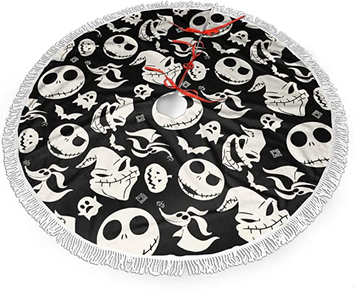 NseldRY The Nightmare Before Christmas Jack & Sally Christmas Tree Skirt 30 inch, for Xmas Holiday Party Supplies Large Tree Mat Decor Ornaments