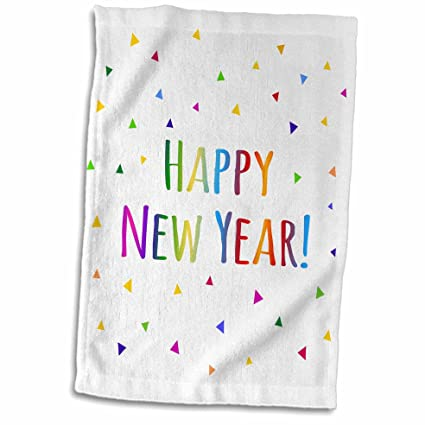 3d rose happy new year colorful rainbow text and multicolor confetti triangles twl_202093_1 towel 15quot