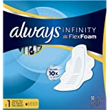 Always Infinity Size 1 Pads with Wings, Regular Absorbency, Unscented, 50 ct, Packaging May Vary