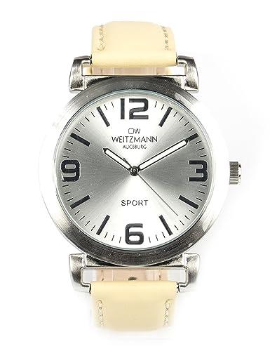 5c47f385f20f OW WEITZMANN - Reloj de Pulsera Deportivo Unisex con Correa de Piel de  Color Crema  Amazon.es  Relojes