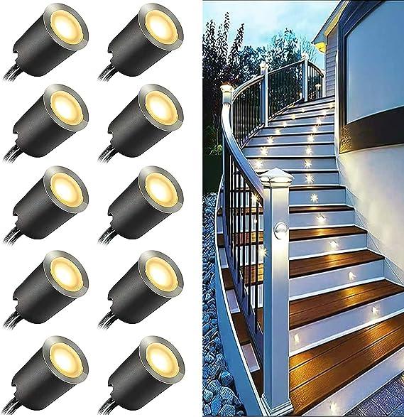 3000K, 10Pcs faretti da incasso a LED a pavimento KIGA Mini Faretti Incasso,3000K Luci di Coperta LED,IP67 impermeabile 0.6W esterno per patio cucina giardino passerella armadio ponte in legno