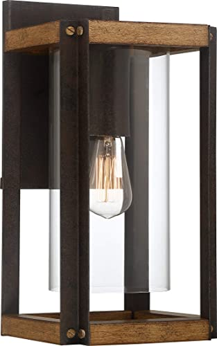 Quoizel MSQ8409RK Marion Square Rustic Outdoor Wall Sconce, 1-Light 150 Watt, Rustic Black