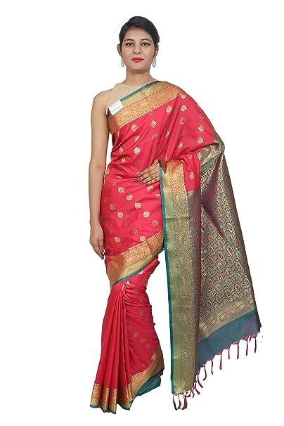 13a58736001fa9 TALUKA FASHIONS Women s Elegant Ethnic Wear Mysore Art Silk Saree With  Blouse Piece Zari Butis Contrast Border And Embellished  Pallu(X5-3331-1-A Punch ...