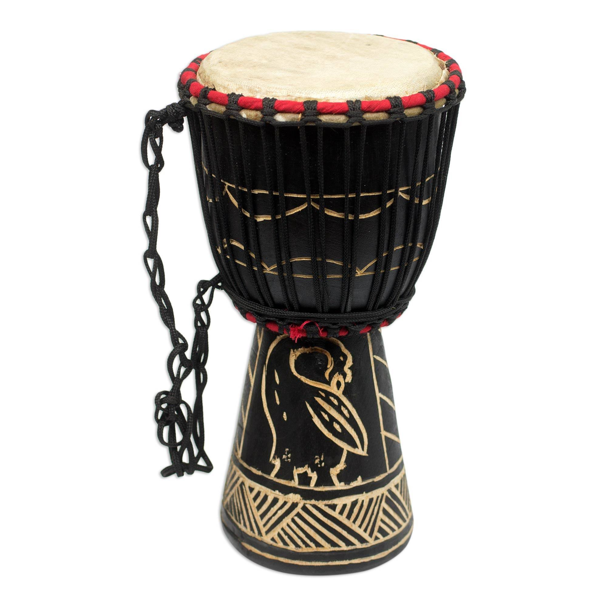 NOVICA Animal Themed Wood Drums, Brown, 'Revival'