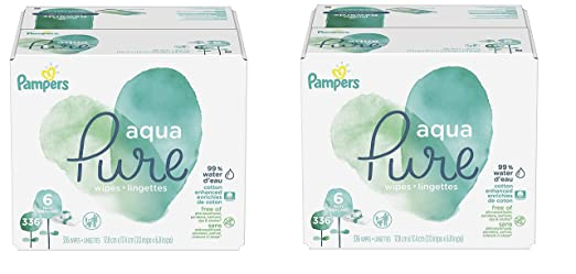Pampers Aqua Pure 6X Pop-Top Sensitive Water Baby Wipes, 672 Count