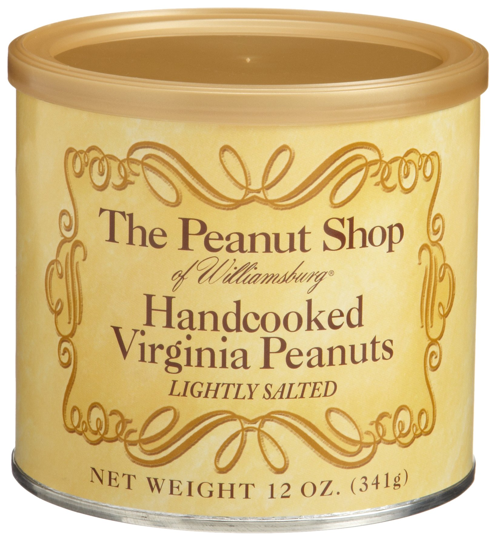 The Peanut Shop of Williamsburg Handcooked Lightly Salted Virginia Peanuts, 10.5-Ounce Tins (Pack of 3)