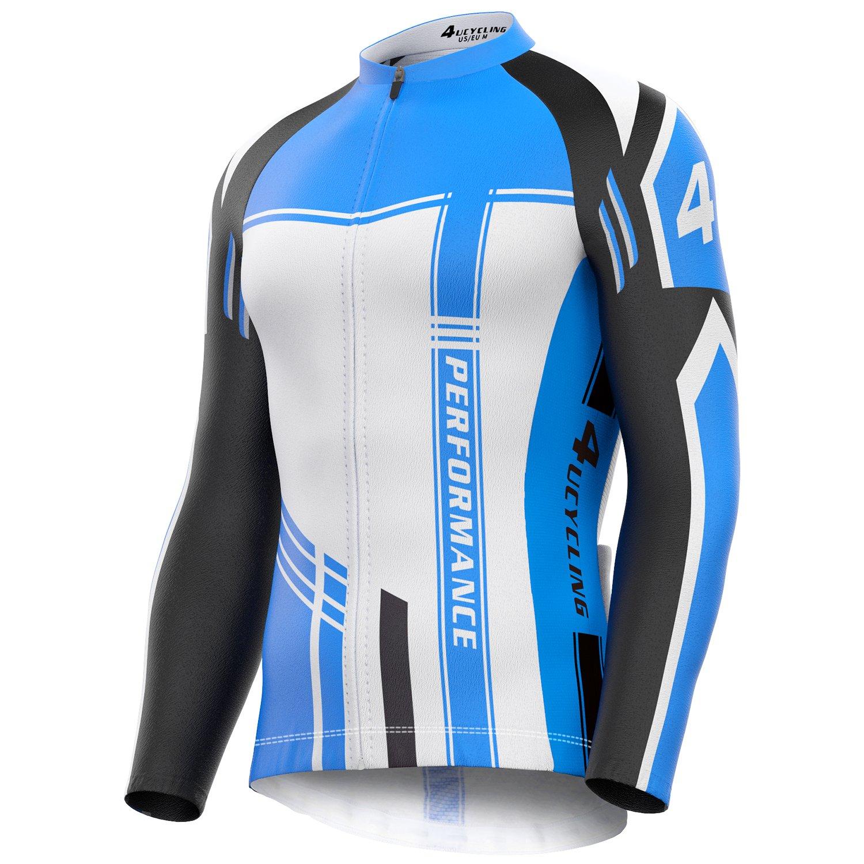 4Ucycling Herren Radtrikot mit durchgehendem Reißverschluss, feuchtigkeitsableitend, langärmelig, atmungsaktiv, Lauf-Top – Fahrrad Biking Shirt