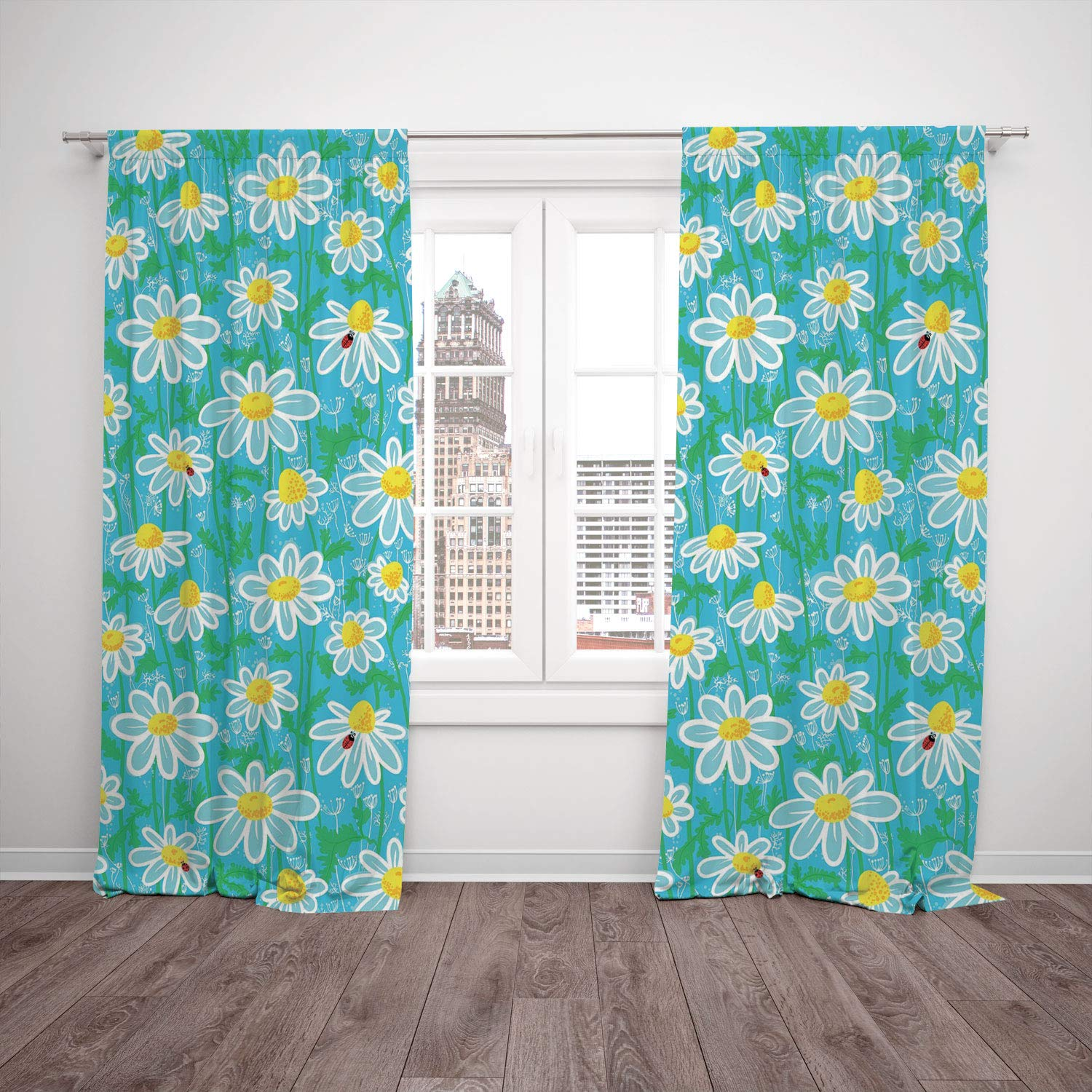 iPrint 2 Panel Set Window Drapes Kitchen Curtains,Yellow and Blue Meadow Art Pattern with Ladybirds and Chamomile Daisy Blossoms Aqua White Marigold,for Bedroom Living Room Dorm Kitchen Cafe